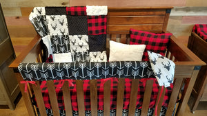 Ready to Ship Boy Crib Bedding - Buck, Buffalo Check, Black Arrow, Ivory Crushed Minky, and Black Minky, Woodland Nursery Set