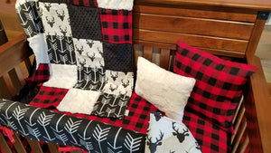 Ready to Ship Boy Crib Bedding - Buck, Buffalo Check, Black Arrow, Ivory Crushed Minky, and Black Minky, Woodland Collection