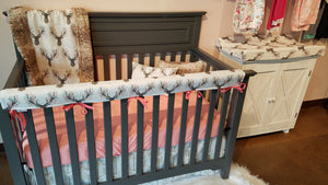 Ready to Ship Girl Crib Bedding - Tulip Fawn, Fawn Minky, White Tan Arrow, Coral, Fawn Nursery Collection
