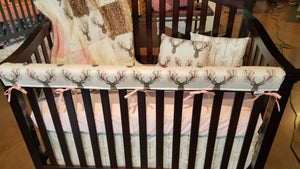 Ready to Ship Girl Crib Bedding - Tulip Fawn, Fawn Minky, White Tan Arrow, Ivory Crushed Minky and Blush, Baby Woodland Nursery Set