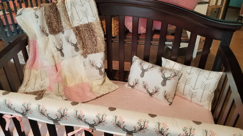 Ready to Ship Girl Crib Bedding - Tulip Fawn, Fawn Minky, White Tan Arrow, Ivory, and Blush, Baby Woodland Crib Bedding