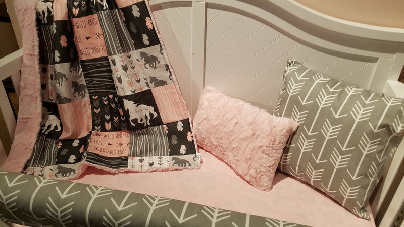 Custom Girl Crib Bedding - Wild and Free Horses, Horse Crib Bedding