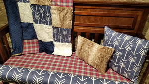 Ready to Ship Boy Crib Bedding - Navy Arrow, Red Navy Plaid, Fawn Minky, and Ivory Crushed Minky, Woodland Crib Bedding