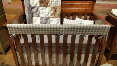 2 Day Ship Neutral Crib Bedding - Arrow, Gray Check, and Fawn Minky, Rustic Nursery Collection
