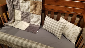 Ready to Ship Neutral Crib Bedding - White Tan Arrow, Gray Check, Ivory Crushed Minky, Fawn Minky, and Gray Minky, Rustic Nursery Set
