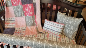 2 Day Ship Girl Crib Bedding - Pink Buck, Aztec Stripe, Gray Arrow, Gray Crushed Minky and Blush, Baby Woodland Crib Bedding