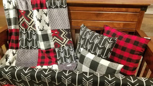 Ready to Ship Boy Crib Bedding - Black Check, Buck, Black Arrows, Red Black Buffalo Check, Aztec, and Black, Woodland Nursery Set