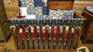 2 Day Ship Boy Crib Bedding - Gray Buck, Red Navy Check, Navy Arrows, Ivory , and Gray, Red Navy Woodland Crib Bedding