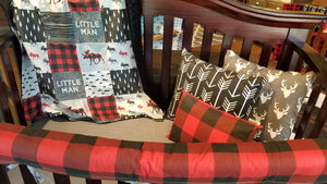 Custom Boy Crib Bedding - Little Man Moose, Red Black Buffalo Check, Black, and Gray, Little Man Moose Crib Bedding