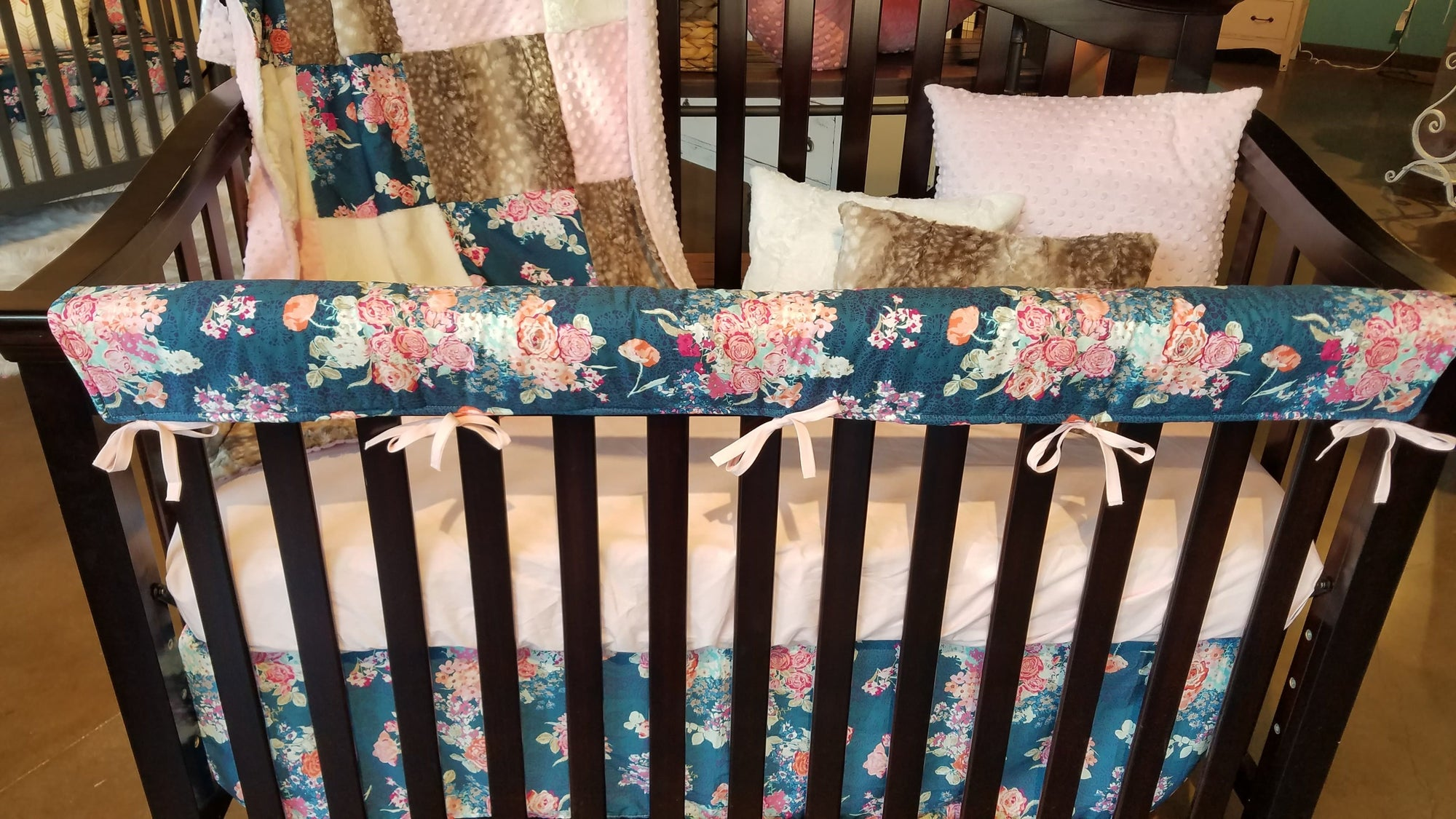 Pre-Order Girl Crib Bedding - Navy Coral Floral, Fawn Minky, Floral Crib Bedding