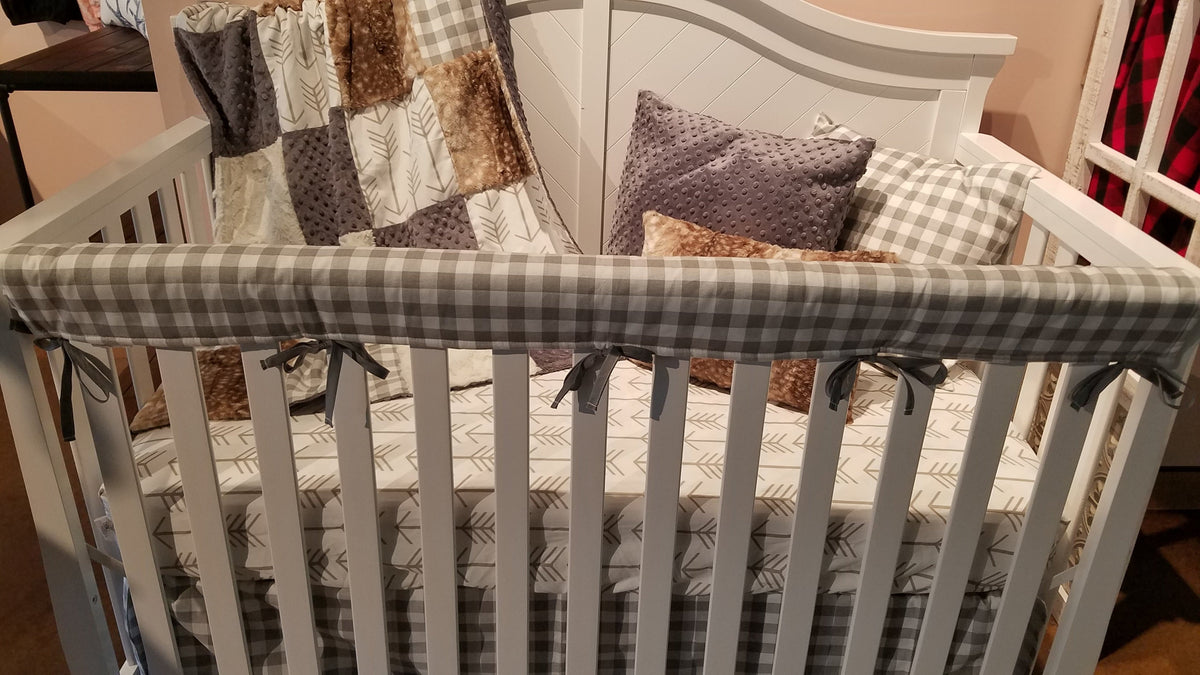 Quick Ship Neutral Crib Bedding - Arrow, Ecru Check, and Fawn Minky Woodland Collection