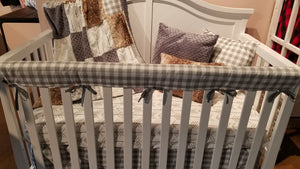 Ready to Ship Neutral Crib Bedding - White Tan Arrow, Ecru Check, Fawn Minky, and Gray Minky, Woodland Crib Bedding