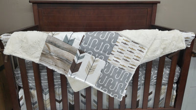 Custom Boy Crib Bedding - Trout Fish, Fish Hooks, Barnwood Fish Collection