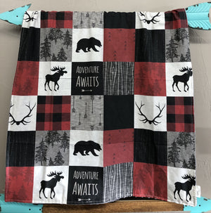 Custom Boy Crib Bedding- Adventure Awaits, Moose, Bears, Woodland Crib Bedding