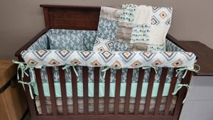 Custom Boy Crib Bedding - Brahma Cow and Aztec Crib Bedding