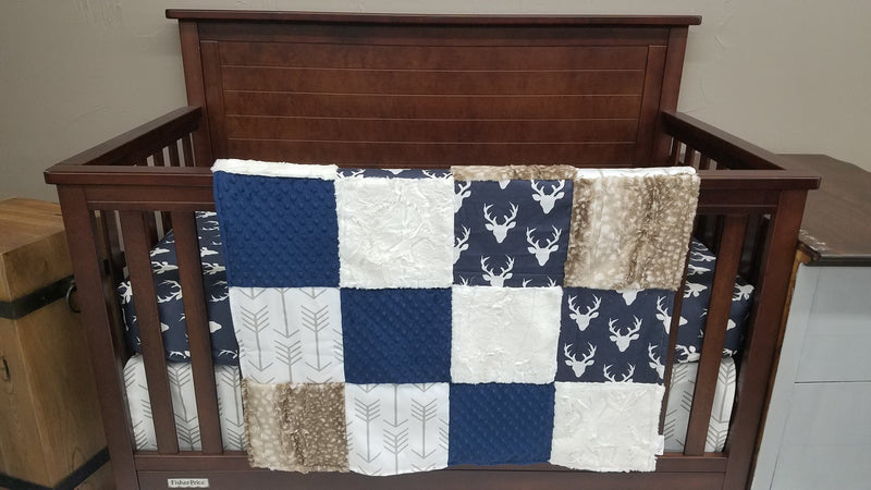 2 Day Ship Boy Crib Bedding - Navy Buck, White Tan Arrows, Fawn minky, Buck Fawn Collection