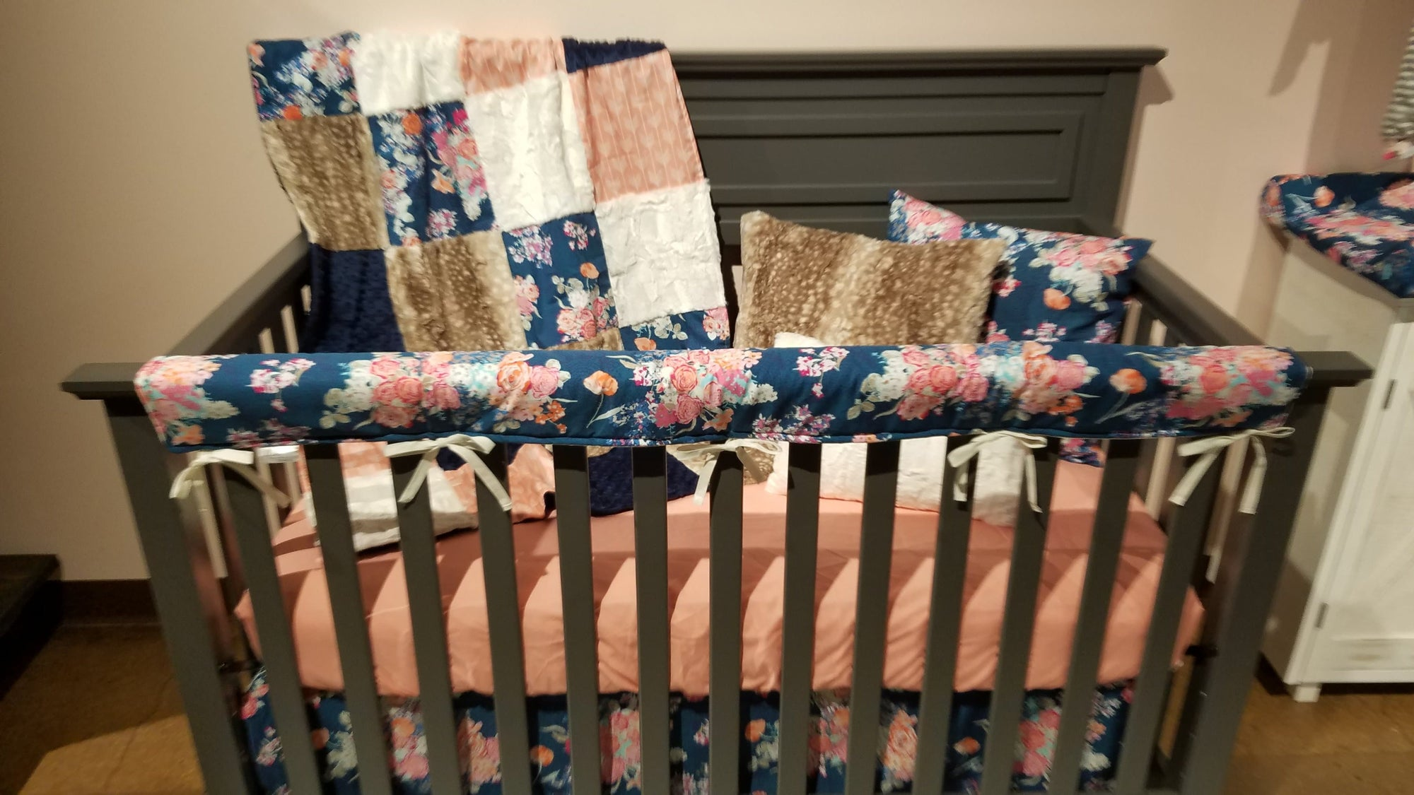 Pre-Order Girl Crib Bedding - Navy Floral, Coral Arrows, Fawn Minky, Coral, and Ivory, Floral Nursery Collection