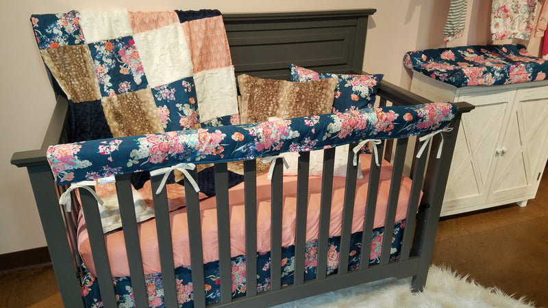 Ready to Ship Girl Crib Bedding - Navy Coral Floral, Coral Arrows, Fawn Minky, Coral Minky, and Ivory Crushed Minky, Floral Collection