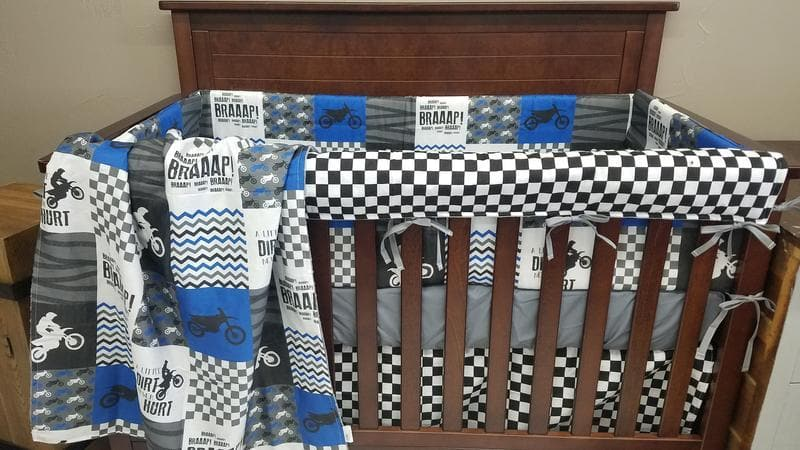Custom Girl Crib Bedding - Dirt Bike Crib Bedding, Motocross Crib Bedding