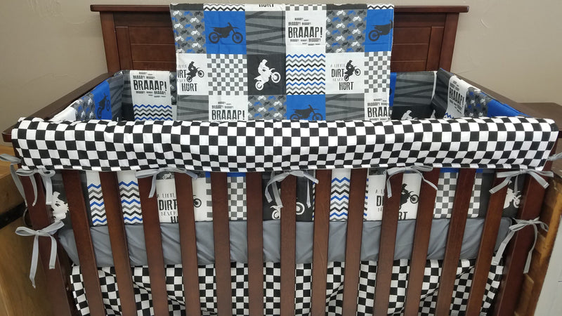 Custom Boy Crib Bedding - Blue Dirt Bike, Gray Minky, and Race Flag Check, Motocross Crib Bedding