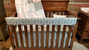 Insta-Ship - Blush Gray Farm House Crib Bedding Set - Ships Next Business Day