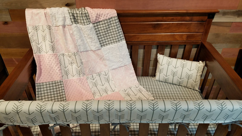 2 Day Ship Girl Crib Bedding - Blush Gray Arrow Collection