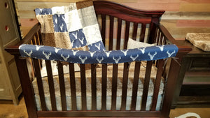 Insta-Ship Baby Boy Crib Bedding - Navy Antler Crib Bedding Set