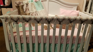 2 Day Ship Girl Crib Bedding- Tulip Fawn, Mint Arrow, Fawn Minky, Blush Minky, and Ivory, Fawn Deer Crib Bedding