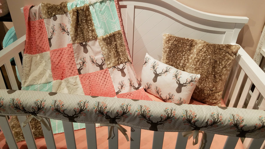 Ready to Ship Girl Crib Bedding- Tulip Fawn, Mint Arrow, Fawn Minky, Coral Minky, and Ivory Crushed Minky, Fawn Deer Nursery Collection