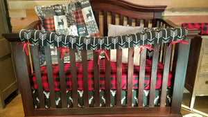 Manhattan Store Special - Red Black Little Man Deer, Black Arrow, and Black Antlers Crib Bedding