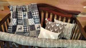 2 Week Ship Boy Crib Bedding - Little Man Deer, Gray Buck, Gray Arrow, Little Man Deer Crib Bedding