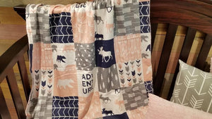 2 Week Ship Baby Girl Crib Bedding - Adventure Moose Bear, Blush,  Arrow, Adventure Crib Bedding