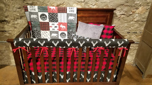 2 Week Ship Boy Crib Bedding - Adventure Moose Bear, Black Antlers, Lodge Red Black Buffalo Check, and Black, Adventure Crib Bedding