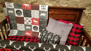 Ready to Ship Boy Crib Bedding - Adventure Moose Bear, Black Antlers, Lodge Red Black Buffalo Check, and Black, Woodland Nursery Set