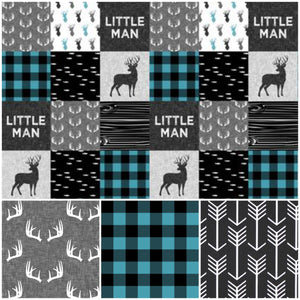 New Design Custom Boy Crib Bedding- Little Man Deer, Gray Antlers, Black Arrow, Gray, Little Man Collection