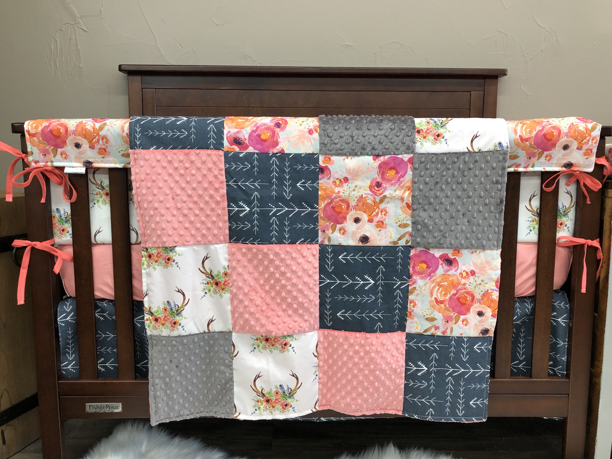 Custom Girl Crib Bedding Watercolor Flowers Coral Minky