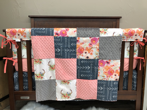 Custom Girl Crib Bedding - Watercolor Flowers, Coral Minky, Floral Antler, Gray Minky, and Navy Tribal Arrows, Floral and Arrow Crib Bedding