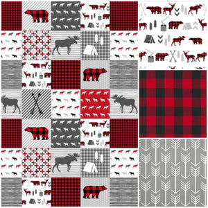 Custom Boy Crib Bedding- Moose Bear Camp, Gray Arrow, and Gray Minky, Moose Bear Camp Crib Bedding