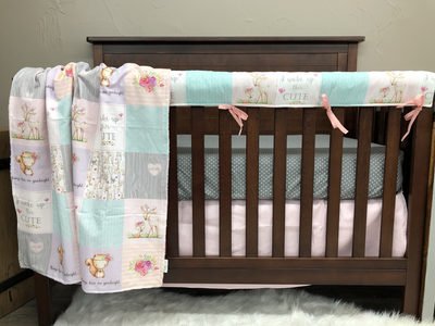 Custom Girl Crib Bedding - Forest Friends Woodland Collections