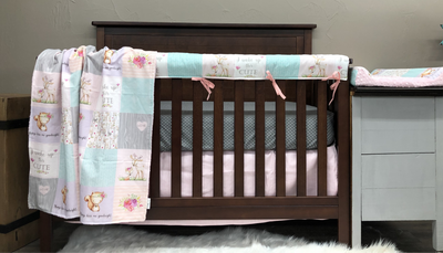 Custom Girl Crib Bedding - Forest Friends, Gray Mini Dots, and Blush, Woodland Crib Bedding