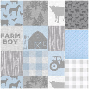 New Design Custom Boy Crib Bedding- Farm Boy, Farm Animals, Gray Check, Light Blue Minky, Farm Crib Bedding