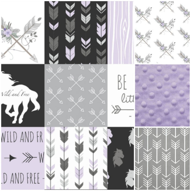 New Design Custom Girl Crib Bedding- Horse, Gray Arrow, and Lilac Minky, Horse Crib Bedding