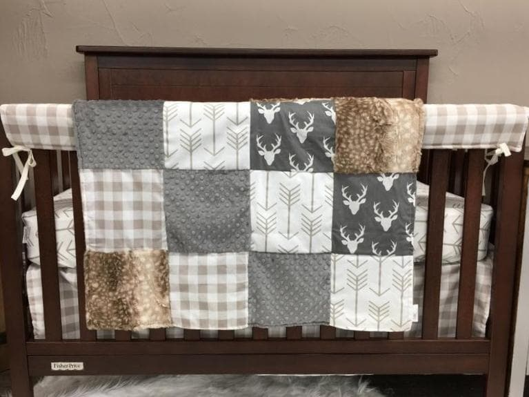 Insta-Ship Boy Crib Bedding - Gray Buck, White Tan Arrow, Tan Buffalo Check, Fawn Minky, and Gray Minky, Woodland Crib Bedding