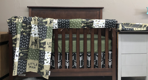 New Design Custom Boy Crib Bedding- Deerly Loved, Camo, Black Arrow, Black Minky, Woodland Crib Bedding