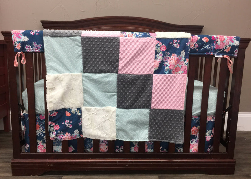 Pre-Order Girl Crib Bedding - Navy Coral Floral, Mint Random Arrows, Gray, Blush, and Ivory, Rustic Floral Nursery Collection