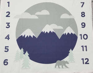 Growth Blanket - Navy mountains, mint trees, and gray bear