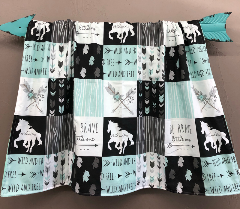 New Design Custom Girl Crib Bedding- Horse, Gray Arrow, and Mint Minky, Horse Crib Bedding