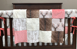 2 Day Ship Girl Crib Bedding - Tulip Fawn, Deer Skin Minky, White Tan Arrow,Coral,  Fawn Crib Bedding