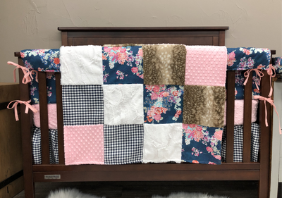 Pre-Order Girl Crib Bedding - Navy Floral, Navy Check, and Fawn Minky, Floral Nursery Collection