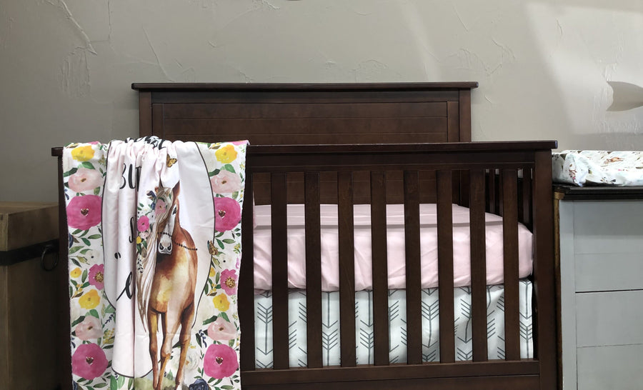 New Design Custom Baby Girl Crib Bedding  - Boho Horses, Blush, and White Gray Arrow, Boho Horse Baby Bedding